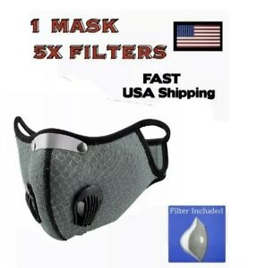 Workout Mask For Running Sport Fitness PM2.5 Filters 5x Included RED $13.99