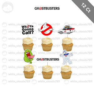 12 Ghostbusters Stay Puft Slimer Cupcake Cake Topper Food Pick Favor Party