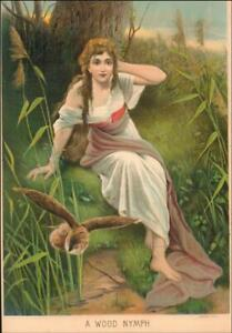 GIRL in the WOODS & OWL WOOD NYMPH antique chromolithograph original 1884 $26.00