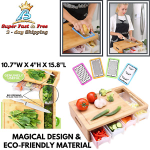 Large Chopping Bamboo Mat Cutting Board With Drawer Tray Container Grater Slicer
