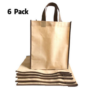 6 Pack Reusable Shopping Bag Recycled Eco Friendly Gift Tote Bags Gusset 10quot;x13quot;