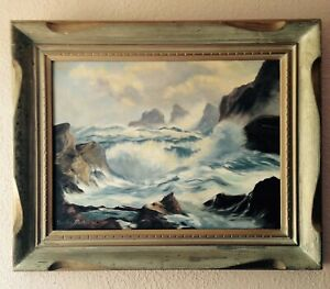 """Vintage 1961 Seascape Painting Signed Dated Framed California Artist 32""""x26""""x4"""" $145.00"""