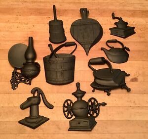 Group of 9 Sexton mid century metal wall sculptures $35.00