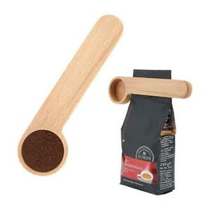 Wood Coffee Scoop with Bag Clip, Measuring Tea Coffee Bean Spoon Clip Gift