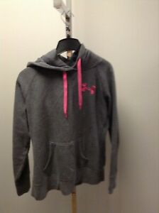 WOMENS M UNDER ARMOUR GRAY PINK STORM SWEATSHIRT HOODIE VGUC $24.99