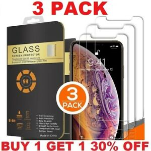 3 PACK For iPhone 13 12 11 Pro Max XR XS 8 Plus Tempered GLASS Screen Protector $5.99