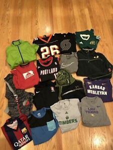 Lot Of 16 Nike Adidas Shirts Large Youth Boys Kids Clothes Sweaters Soccer Tops $59.99