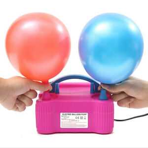 Pink Portable Double Electric Balloon Air Pump Inflator 110V Blower Party US New