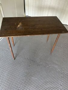 Vintage Antique Sewing Wood Stand Folding Table With Measurement Engraved $209.99