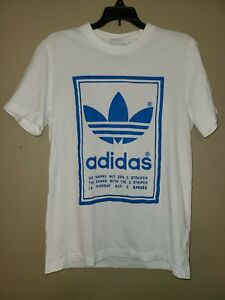 Adidas Front and Back Reverse Mens S White and Blue Graphic Tee T Shirt $12.99