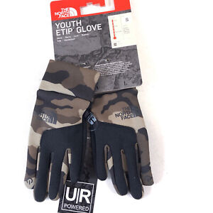 THE NORTH FACE Youth Etip Glove Burnt Olive Camouflage Size Small NF0A3KP7FQ9