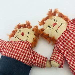 Pair of Miniature Raggedy Ann and Andy Hand Stitched Dolls 4.5quot; Tall Rustic $30.00
