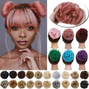 US Curly Messy Bun Hair Piece Scrunchie Updo as Real Hair Extensions for Human $7.35