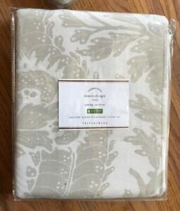 Pottery Barn Set 2 Maris Drape Flax 50x96 Floral Pole Pocket Curtains Pair