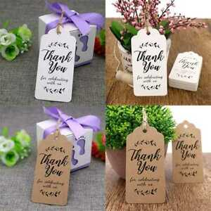 100Pcs Gift Label Thank Tags Handmade Wedding Craft Paper you