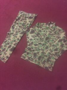 CABELAS HUNTING SUIT MADE IN USA CAMOUFLAGE JACKET PANTS OVERALLS BIB SET