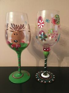 Handpainted Christmas Wine glasses reindeer snowflakes colorful 2 glasses green