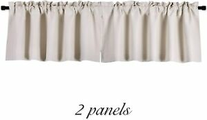 DONREN Cream Beige Curtain Valances for Kitchen 42 x 12 Inches Long Room Darkeni