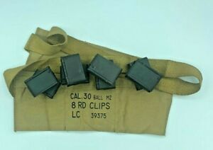 WWII US M1 GARAND 30 06 RIFLE ENBLOC CLIPS and AMMO CANVAS BANDOLEER EN BLOC $24.97