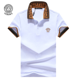 2020 New Versace Medusa Men#x27;s Polo Lapel Cotton Short Sleeve T Shirts M 3XL