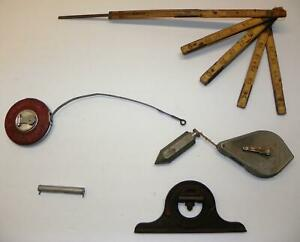 VTG HAND TOOL LOT: Starrett Protractor Stanley Level amp; Roe amp; Sons Tape Measure $9.95
