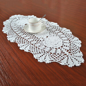 White Vintage Oval Table Runner Crochet Cotton Floral Lace Tablecloth Doily 28quot;