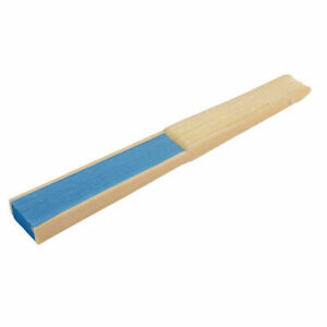 Gift summer lady wooden frame handle hollow paper folding portable blue hand fan