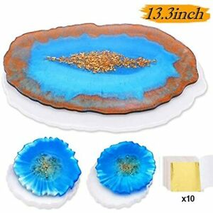 Mostof 3PCS Large Epoxy Resin Tray Molds Geode Agate Coaster Silicone For Tray