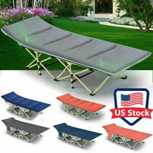 Adult Camping Cot Folding Bed Heavy Duty Collapsible Sleeping Bed w Carry Bag US