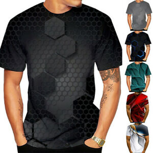 Men#x27;s Casual 3D Print T Shirts Crew Neck Short Sleeve Tops Tees Classic Fit $14.87