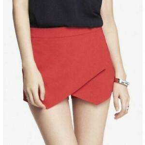 Express Red Faux Wrap Front Mini Skort Size 00 2XS Attached Under Shorts Skirt $14.40