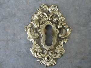 Genuine Vintage Victorian in Thick Brass Ornate Design Key Hole Escutcheon Cover $22.80
