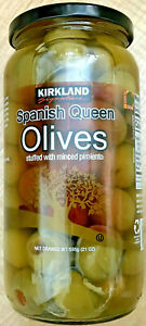Queen Size Pitted Green Spanish OLIVES Stuffed With Pimiento Dry Wt. 21 oz