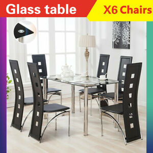 7 Piece Dining Table Set 6 Chairs Glass Metal Kitchen Room Breakfast Furniture