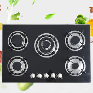 Black 30quot; Built in Cooktop 5 Burners Stove LPG NG Gas Hob Cooker US FAST SHIP