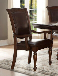 Benzara Wooden amp; Leather Dining Side Arm Chair Brown Set Of 2