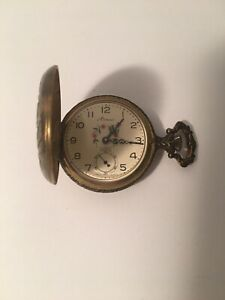 Vintage Arnex Pocket Watch 17 Jewels Incabolic Hunting Scene Dog Geese