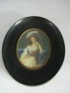 Antique Signed French Miniature Oval Portrait Painting of Lady w Plumed Hat $89.99