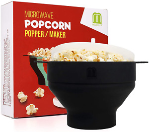 Microwave Oven Silicone Popcorn Popper Maker Bowl Collapsible BPA Free Black