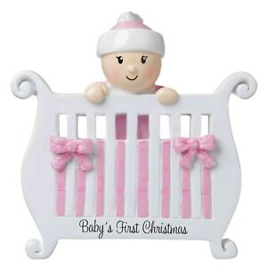 Personalized Christmas Ornament Baby Girl in Crib Baby#x27;s 1st Christmas