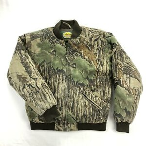 Cabela#x27;s Womens Large Premier Goose Down Realtree Camo Bomber Jacket