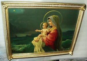 Virgin Mary Immaculate Religious Antique Chromolithograph Large Print Ornate $230.00