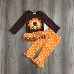 NEW Boutique Girls Thanksgiving Turkey Ruffle Tunic amp; Leggings Outfit Set