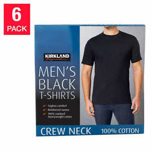 Kirkland Mens 6 pack Black 100% Cotton Crew Neck T shirt FREE SHIPPING $22.97