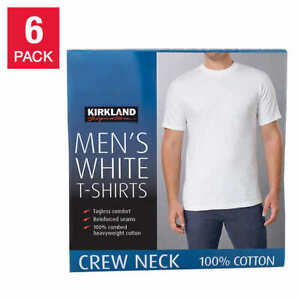 Kirkland Mens 6 pack White 100% Cotton Crew Neck T shirt S M L XL XXL 3XL $19.97