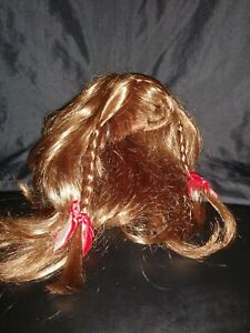 Build A Bear BROWN WIG TWO BRAIDS AND TWO BOWS