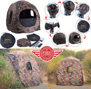 Portable Hunting Blind Pop Up Ground Camo Weather Resistant Hunting Enclosure