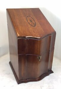 Vintage Wood Inlay Hinged Knife Box $125.00