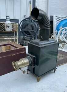 Vintage Antique German Magic Lantern With Glass Slides
