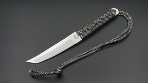 Tanto Fixed Blade Knife Straight Point Outdoor Hunting With Sheath Lanyard Hole